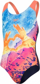 Speedo Sun Pebble Placement Digital Splashback Girl Navy/Fluo Orange/Turquoise